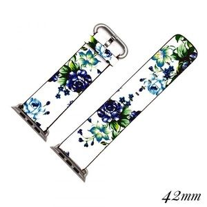 Apple Watch 42MM Band White Blue Floral Print NEW